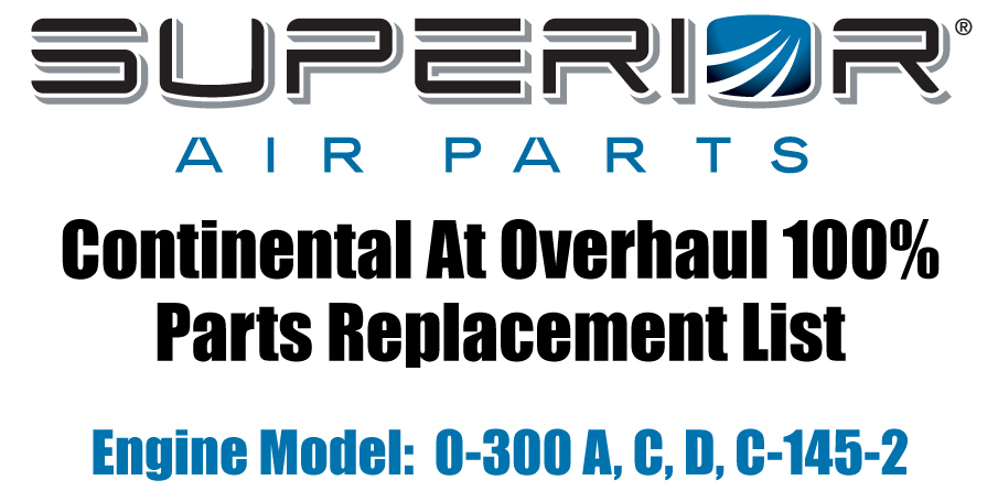 sup0300 continental at overhaul parts replacement list 0 300 a, c, d, c  at crackthecode.co